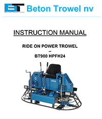 Ride on power trowel BT900 high rider