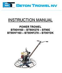 BT90 all models Power Trowel