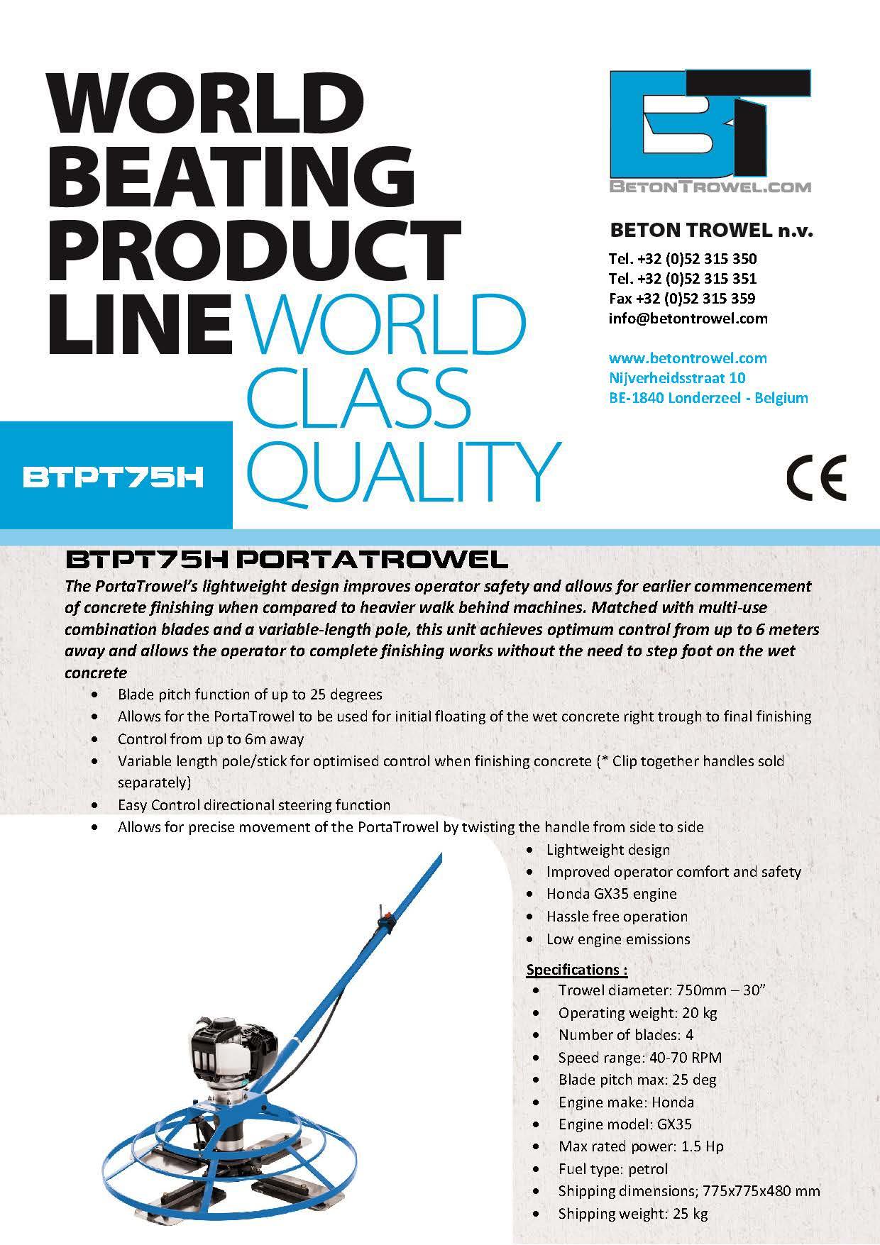Power trowel BTPT75H